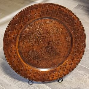 "13"" Brown Camel Decor Plate w/Stand"